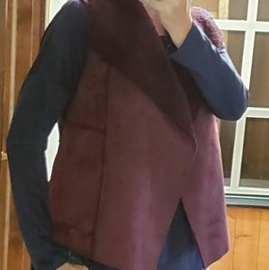 Susina Jackets & Coats - Burgandy Shawl Vest